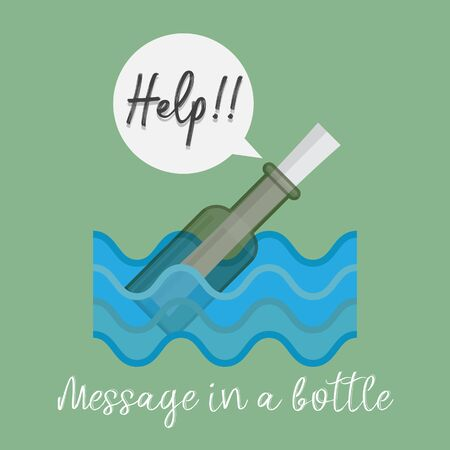 Message in a bottle floating in the water. Illustration