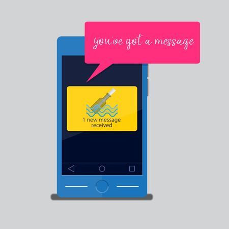 Youve got a message.Smartphone receive text message. 일러스트