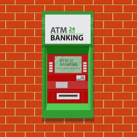 Street ATM teller machine on brick wall.