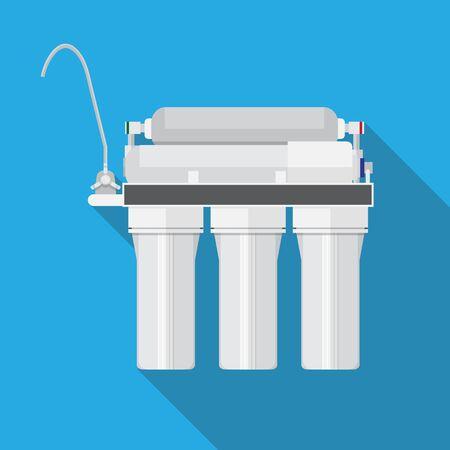 Sistema ad osmosi inversa. design piatto di vettore del filtro dell'acqua.