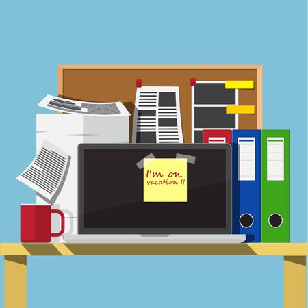Sticky note avec mot vacances sur monitor.vacation concept. Vecteurs