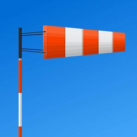 Diseño plano del vector de la manga de viento del aeropuerto. Ilustración de vector