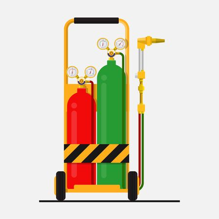 Oxy fuel welding vector flat design.