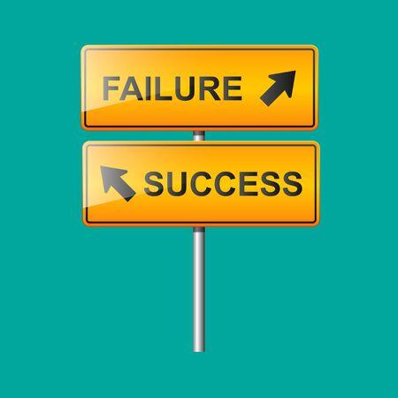 Success and failure sign,confuse direction concept, Ilustração