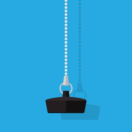 Bathroom plug with chain vector flat design.