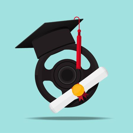 Driving school logo vector flat design. Ilustracja