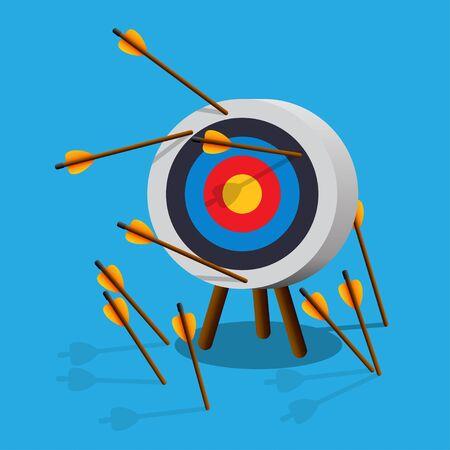 Flechas que faltan al objetivo. No alcanzar el objetivo. Ilustración vectorial. Ilustración de vector