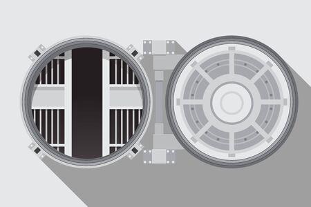 Blank bank vault room with a safe vector illustration.