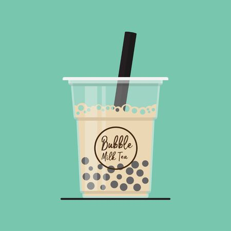 Bubble milk tea,Pearl milk tea vector flat design.