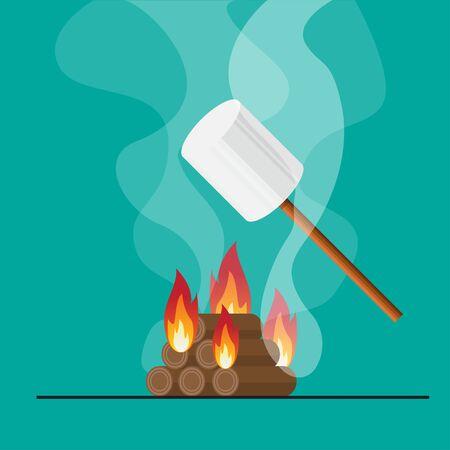 Bonfire and marshmallow on stick vector flat design.