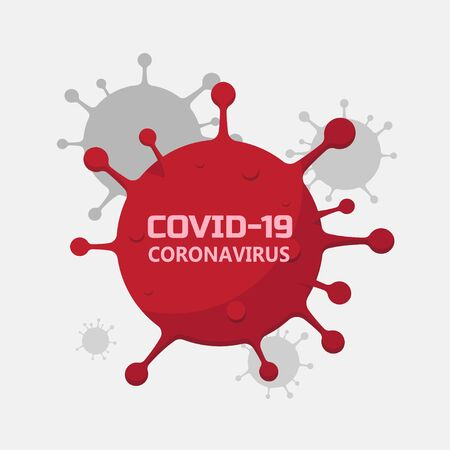 Coronavirus icon, Inscription COVID-19 on white background vector flat design.