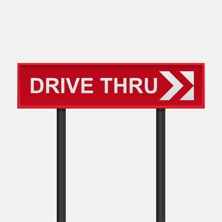 Drive thru sign,White text written on a red background,Vector illustration