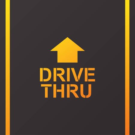 Drive thru text on the road vector illustration.