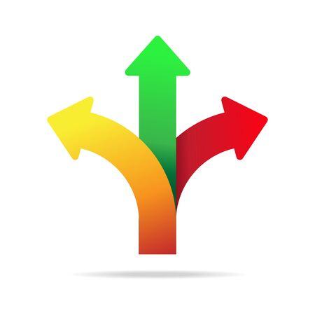 Three way direction arrow vector illustration.