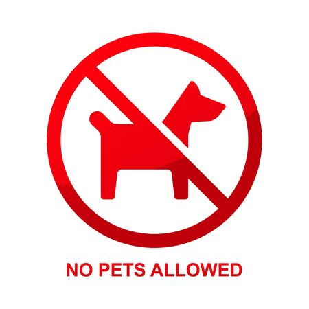 No pets allowed sign isolated on white background vector illustration.