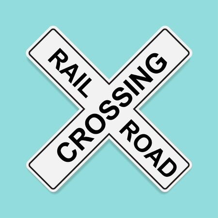 Railroad traffic sign isolated on white background vector illustration. Ilustração