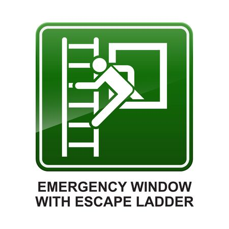 Emergency window with escape ladder sign ,Safety condition isolated on white background vector illustration.