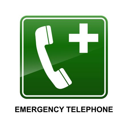 Emergency telephone sign,Safety condition isolated on white background vector illustration.