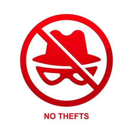 No thefts sign isolated on white background vector illustration. Çizim