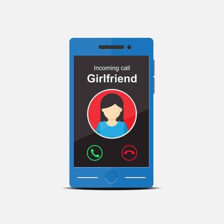 Girlfriends incoming call vector flat design.