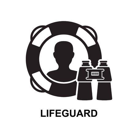 Lifeguard icon isolated on white background vector illustration. Çizim