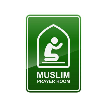 Muslim prayer room sign isolated on white background vector illustration.