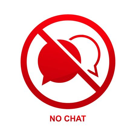 No chat sign isolated on white background vector illustration. Çizim