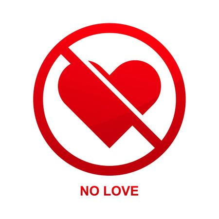 No love heart sign isolated on white background vector illustration.