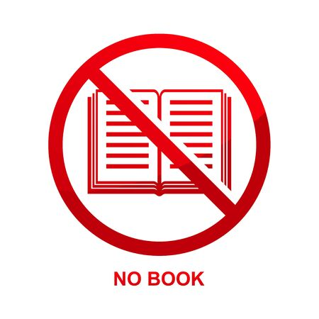 No book sign isolated on white background vector illustration. Çizim