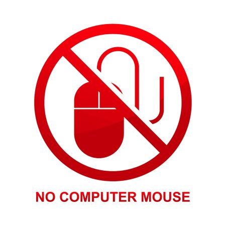 No computer mouse sign isolated on white background vector illustration. Çizim
