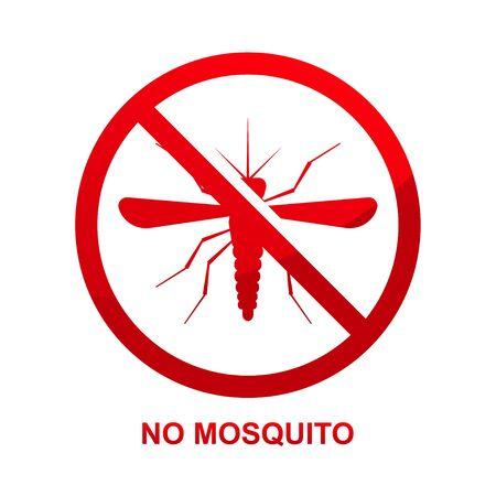 No mosquito sign isolated on white background vector illustration. Çizim