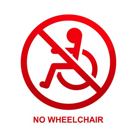 No wheelchair sign isolated on white background illustration.
