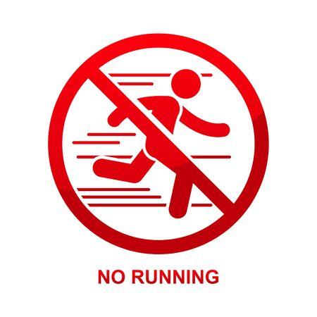 No running sign isolated on white background illustration.