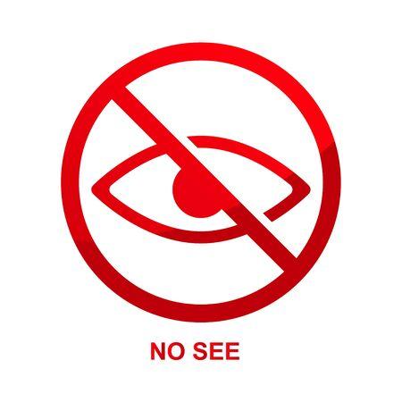 No see sign isolated on white background illustration. Çizim