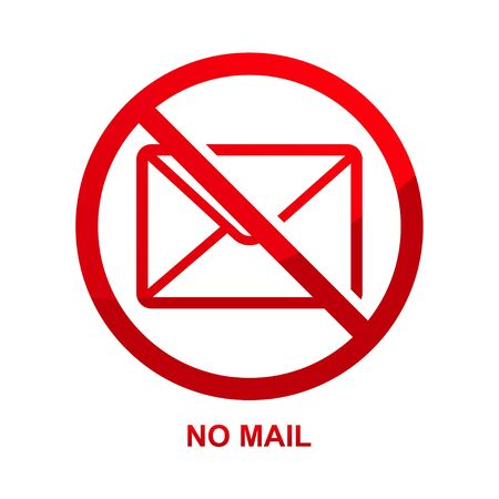 No mail sign isolated on white background vector illustration.
