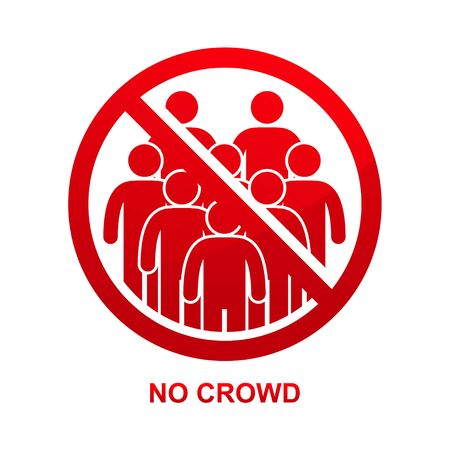 No crowd sign isolated on white background vector illustration. Çizim
