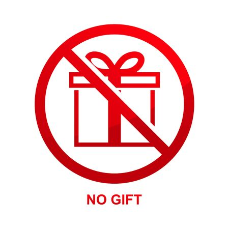 No gift sign isolated on white background vector illustration.