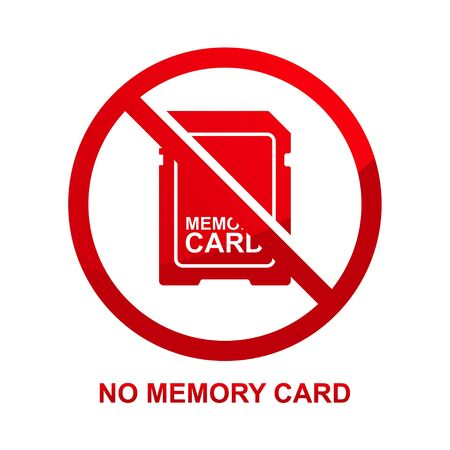 No memory card sign isolated on white background vector illustration.