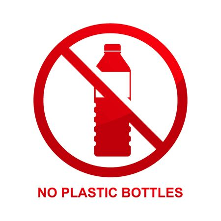 No plastic bottles sign isolated on white background vector illustration. Çizim