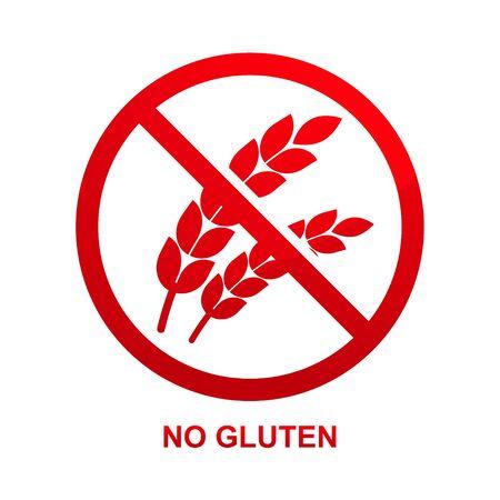 No gluten sign isolated on white background vector illustration. Çizim
