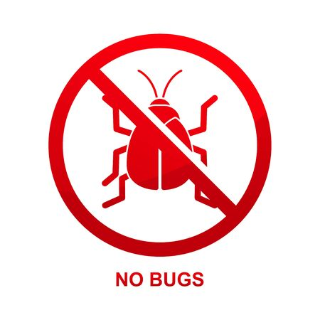 No bugs sign isolated on white background vector illustration.