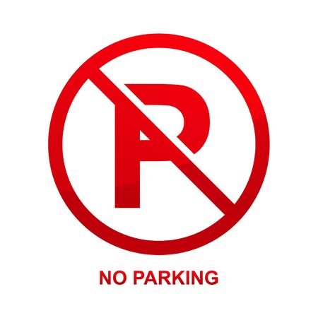 No parking sign isolated vector on white background vector illustration.