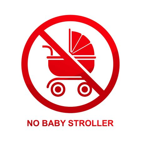 No baby stroller sign isolated on white background vector illustration.