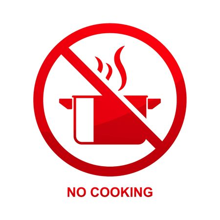 No cooking sign isolated on white background vector illustration.