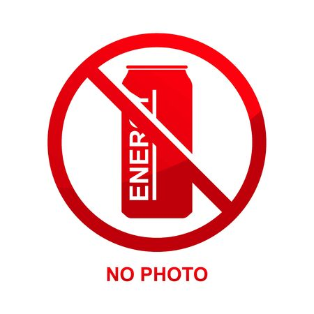 No energy drink sign isolated on white background vector illustration.