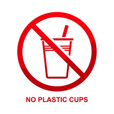 No plastic cups sign isolated on white background  illustration  イラスト・ベクター素材