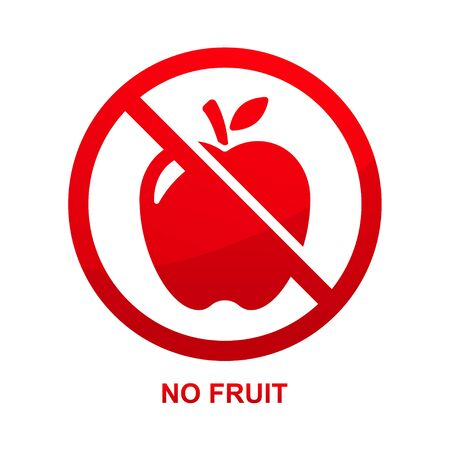 No fruit sign isolated on white background  illustration