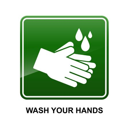 Wash your hands sign isolated on white background vector illustration.