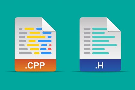 Cpp file and h file icon vector illustration.