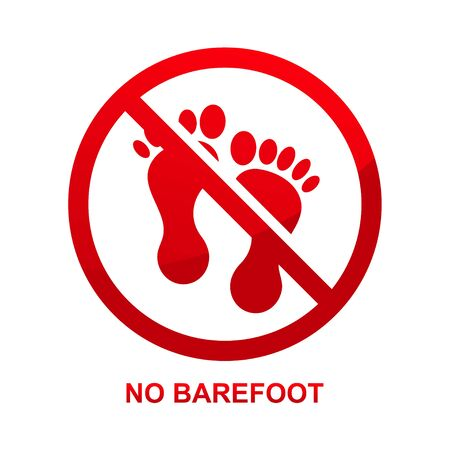 No barefoot sign isolated on white background vector illustration.